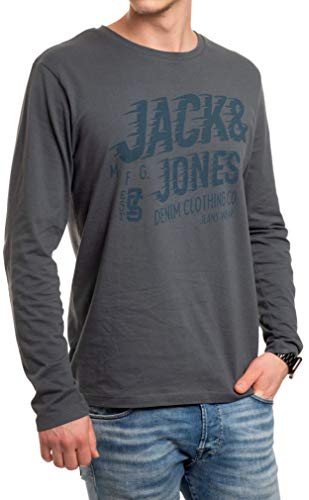 Jack and Jones - Maglietta da uomo a maniche lunghe, con stampa a girocollo, vestibilità regolare Dark Slate (grigio blu) XXL