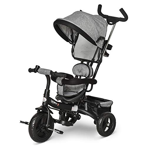 HOMCOM Tricycle Enfant évolutif Pare-Soleil Pliable Canne...