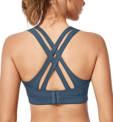 Yvette Women High Impact Sports Bras Criss Cross Back Sexy Running Bra for Plus Size, 08A, 2XL(DF)