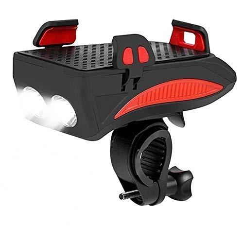 Fahrrad-Led-Licht Mountainbike Leuchte,Mit Handyhalter USB-Ladeanschluss 4000Mah,Mit Lautsprecher,Wasserdicht,StoßFest,Für das Für das 4'' bis 6,3''-Mobiltelefon,rot