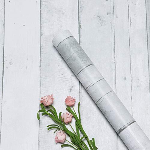 Hellgrau Holzmaserung Klebefolie Weiß Möbelfolie 45cm x 300cm Wandtapete Holzoptik Selbstklebend Klebefolie Wandtattoo Streifen Holztapete für Wand Schrank Tisch Zimmer Küchen Möbel Folie Vinyl