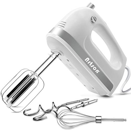 Nrtson Hand Mixer Electric Handheld Kitchen Mixers with 5 Stainless Steel Attachments 5Speed Max 400W Powerful Turbo for Baking Cake Egg Cream Food Beater