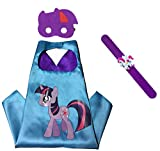 Raclove My Little Pony Costume Set—Cape, Mask and Pops Ring. For Age 4-10 Kids Boys and Girls. Wonderful Dressing up Gifts for Halloween Birthday Party Superhero Day and Play Day (Twilight Sparkle)