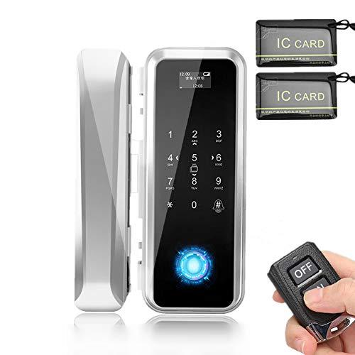 Cerradura Biométrica Inteligente, Soporte Electrónico Inteligente para Puerta de Vidrio Huella Digital, Control Remoto, Contraseña, Cerradura Antirrobo de Seguridad de Tarjeta