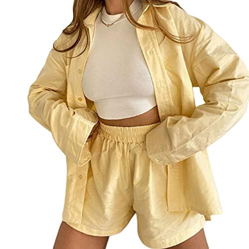 Conjunto de 2 piezas sueltas de manga larga con botones para mujer, pantalones cortos de verano, otoño, amarillo, XL