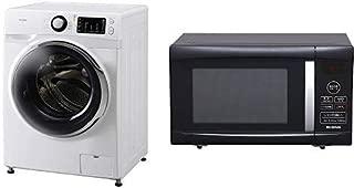 【セット販売】アイリスオーヤマ ドラム式洗濯機 温水洗浄機能付き 左開き 幅595mm 奥行672mm 7.5kg FL71-W/W & アイリスオーヤマ 電子レンジ 22L ターンテーブル ヘルツフリー 全国対応 ブラック PMO-22T-B セット