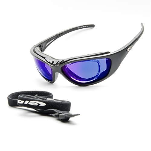 Goggle Bikerbrille Motorradbrille Sonnenbrille Band Brillenträger Sehstärke Clip polarisierend blau verspiegelt