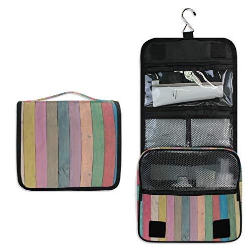 Doshine - Neceser Colgante de Madera con diseño de Rayas de arcoíris,...