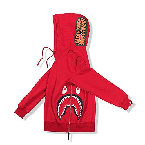 BAPE Fashion Hip Hop Shark Camo Print Jersey de algodón Casual con cremallera suelta chaqueta con capucha para aumentar el valor fresco en un 100%, rojo, XXL