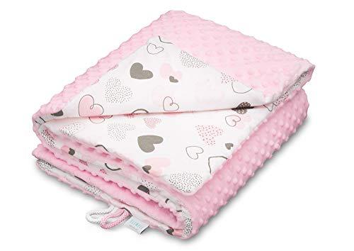 EliMeli Minky Babydecke Kuscheldecke Krabbeldecke | super weichem Minky Dots Polar Fleece | Baumwolle | Füllung | 75x100 hoch Qualität (Pink - Hearts)