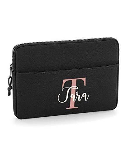 Black 15' Personalised Laptop Bag, University Gift, Laptop Case, Initial Tablet Bag, Monogram Document Bag, Laptop Case, Custom Computer Bag, 15' Size