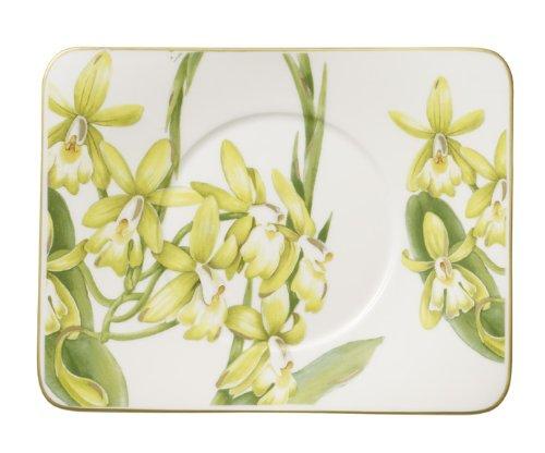 Villeroy & Boch Amazonia rechteckige Tee-Untertasse, Edles Geschirr aus Premium Bone Porzellan, 17 x 14 cm