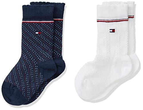 Tommy Hilfiger Th Baby Kneehigh 2p Girls Zig Zag calcetines, tommy original, 19-22 (Pack de 2) para Bebés