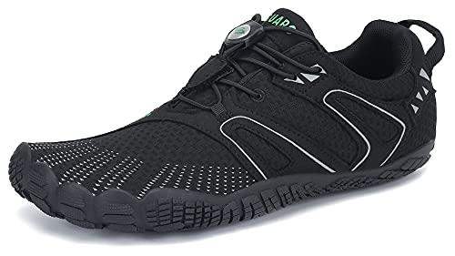 SAGUARO Hombre Mujer Minimalistas Zapatillas de Deporte Trail Running Calzado Caminar Cómodas Senderismo Ciclismo Ligeras Deportivas Andar Trekking Montaña Agua Exterior Interior(059 Negro, 42 EU)