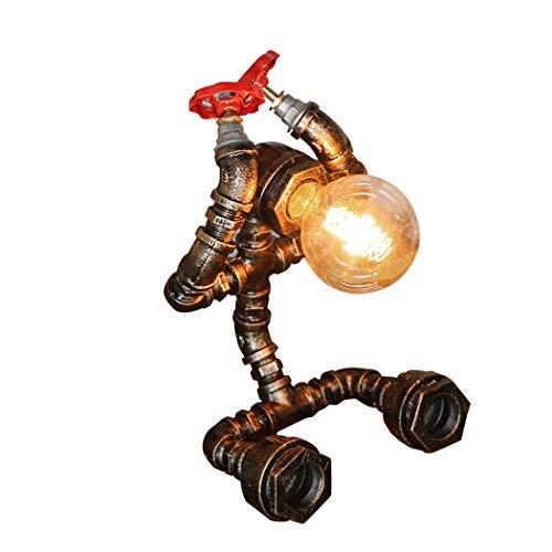 Lámpara de escritorio Lámpara de Mesa Lámpara Pipe Tabla de Steampunk de la vendimia de la lámpara del robot industrial del agua, titular de la lámpara E27 (Size : A)
