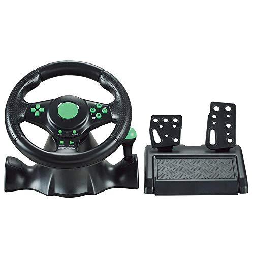 Ashey Volant de Jeu de Course de Voiture, Gamepad 180 degrés, pour XBOX-360 / pour PS3 / PS4 / PC Simulation de Force de rétroaction à Deux Moteurs Conduisant la Voiture