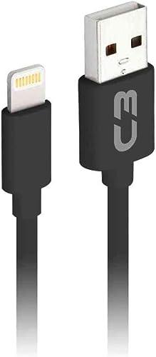 Cabo Usb-Lightning C3Plus CB-L20BK 2M Preto - Compatível com IOS USB-Lightning Corrente 2A