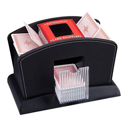 Relaxdays, schwarz Kartenmischer Elektrisch, Leder, 4 Decks, Automatische Kartenmischmaschine zum Mischen von Karten, Standard