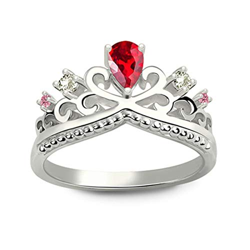 Anillo de piedra de nacimiento personalizado Anillo de plata de ley 925 Anillo de corona Anillo de promesa Regalo de aniversario(Plata 20.25)