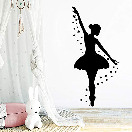 Mode Ballett Tanz Mädchen Sterne Wandaufkleber Vinyl Tapete Kunst Aufkleber Kinderzimmer Wandbilder Tanzstudio Schlafzimmer Dekoration Poster Geschenk