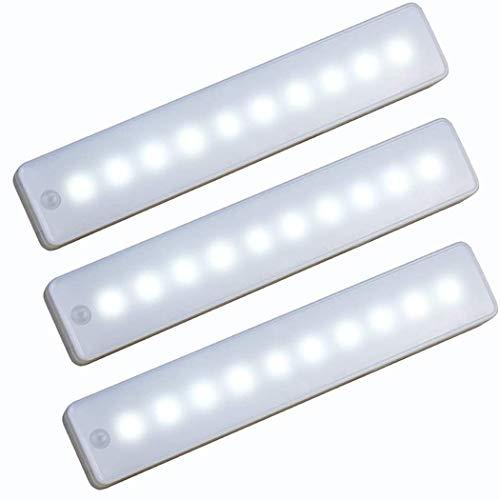 WRalwaysLX 10 Led-lampen Batteriebetriebene Wireless Motion nachtlicht Tragbare Magnetische Sicherheitsschrank Licht Stick Up für Schränke Flur Treppe (3 pack Cool White)