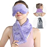 SuzziPad Microwavable Heating Pad for Neck Pain with Bonus Heated Eye Mask, Hands-Free Neck Warmer for Stress Pain Relief, Moist Heated Neck Wrap Bean Bag Hot Pack, Cold and Warm Compress