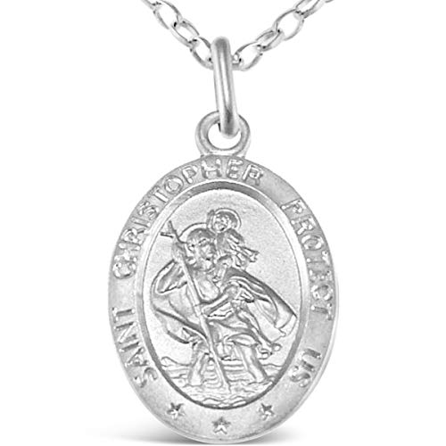 Oval Sterling Silver St Christopher Pendant with 18' Chain - 24mm x 12mm with Jewellery presentation box