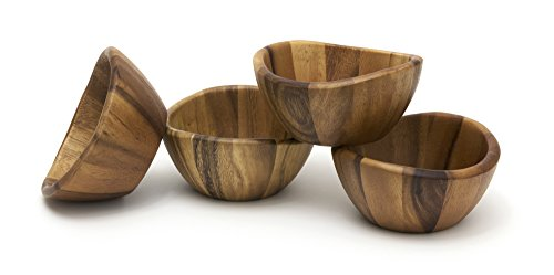 Lipper International Acacia 6 x 3 Wave Bowl Set of 4