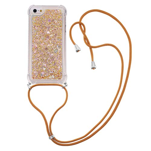 COTDINFOR Compatible with iPhone 5S Funda Caso Liquid Case Bling Glitter Sparkle Floating Silicone Shockproof Phone Cover Lanyard Fundas para Phone 5 / 5S TPU Gold Love YB.