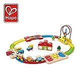 Hape International- Rainbow Puzzle Railway Circuito Arcoíris Multifuncional, Multicolor, Talla única (E3826)