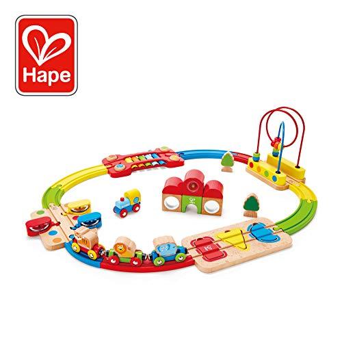 Hape-HAPE-E3826-Circuit de Train en Bois-Chemin de Fer Puzzle Arc-en-Ciel Circuits de Voitures, E3826, Multicolore, Taille Unique