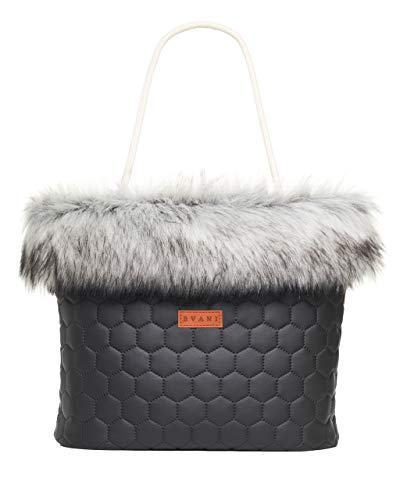Bvani Große Kunstleder Damen Tote Bag mit Fell ein Wochenende Handtasche - Shopper Tasche (Silber Bienenwabe)