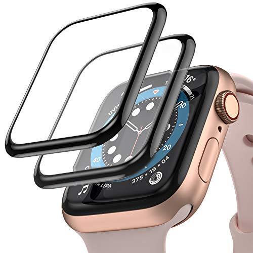 Upeak [2 Paquetes] Compatible con Apple Watch Series SE 6 5 4 40mm Película Protectora de Pantalla HD, Película Protectora Flexible Curvada 3D Antirrayas con Cobertura Máxima sin Burbujas