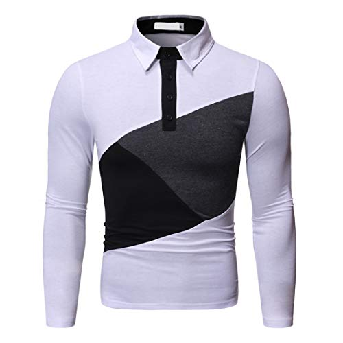 Men's Lapel 1/4 Button Patchwork Polo Shirt Long Sleeve Casual Fashion Sweatshirt Outdoor Slim Fit Comfy Running top Spring, Autumn and Winter New Sweatshirt top XL