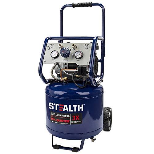 Stealth 12 Gallon Ultra Quiet Air Compressor, 1.5 Horsepower Oil Free Max 150 PSI, 68 Decibel Air Pump, 4 CFM @ 90 PSI, Long Life Electric Air Compressor for Garage, Workshop, Jobsite