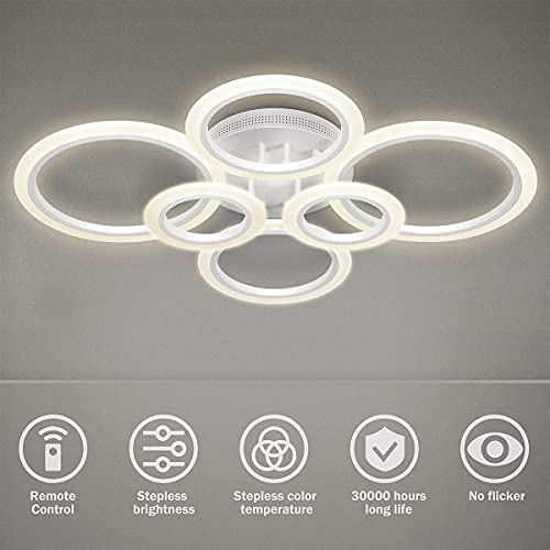 Lámpara de techo LED, 6 anillos 72W Candelabro Regulable Lámpara de diseño acrílico creativo Lámpara de techo Iluminación Lámpara de techo moderna para dormitorio Sala de estar Oficina Estudio