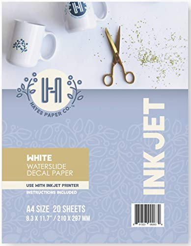 """Hayes Paper Co. Waterslide Decal Paper Inkjet WHITE - Decal Paper for Inkjet Printer - A4 Water Transfer Paper, 20 Sheets (8.25 x 11.75"""")"""