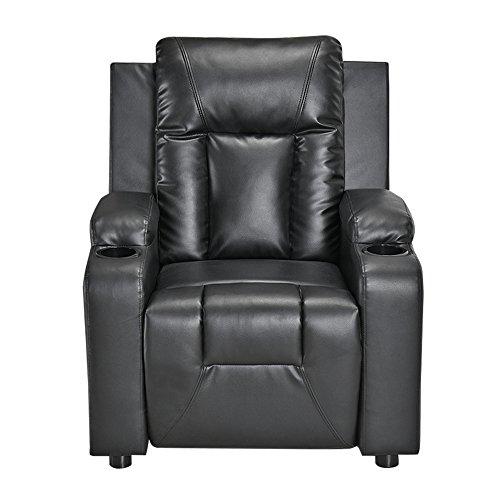 Sillón reclinable de piel sintética Lounge C con soporte para bebidas y reposabrazos, sillón ajustable para sala de estar, cine, reclinable, regalo para padres (negro)
