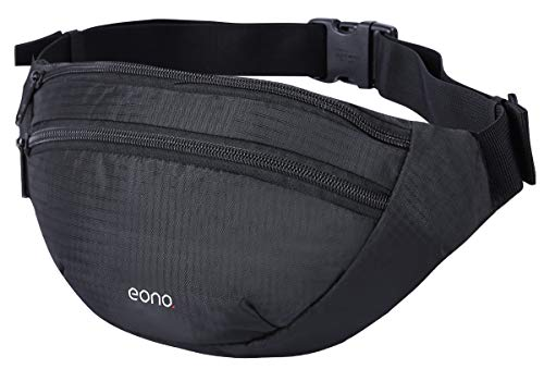Eono by Amazon - Bum Bag with Adjustable Elastic Strap, Double Pockets Waist Fanny Pack for Men, Women (Black)