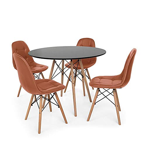 Kit Mesa Jantar Eiffel 120cm Preta + 04 Cadeiras Dkr Charles Eames Wood Estofada Botonê - Marrom