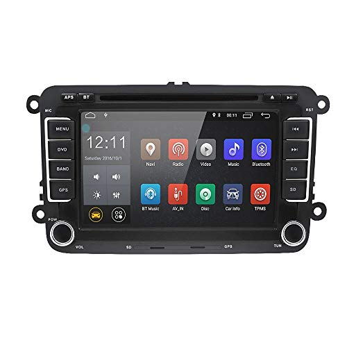 LEXXSON Android 8.1 Double din Car Radio Stereo 7 inch Capacitive Touch Screen HD GPS Navigation Bluetooth USB DVD Player 1G DDR3+16G for VW Passat Golf MK5 MK6 Jetta T5 EOS Polo Touran Seat Sharan