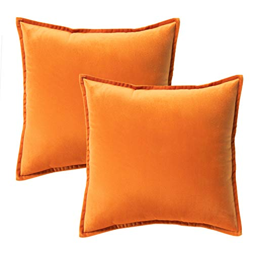Bedsure Velvet Cushion Cover 2 Pack Orange Decorative Pillowcases for Sofa and Couch, 40cm x 40cm (16in x 16in)