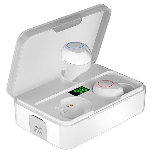 Auriculares Inalámbricos Bluetooth 5.0, YONMIG Auriculares Bluetooth Deportivos con 3000 mAh y Micrófono Integrado, Mini Twins Estéreo In-Ear Mono Headset para iPhone y Android (White)