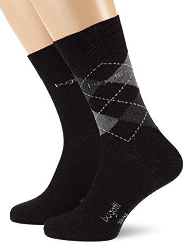 Bugatti Herren 2er Pack Argyle/Uni 6776 Socken, Schwarz (Black 61A), 43/46 (Herstellergröße: 43-46)