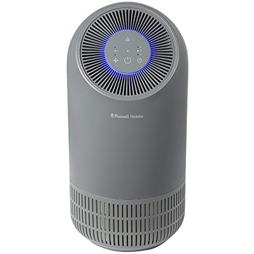 Russell Hobbs RHAP1001G Compact Air Purifier, Captures Bacteria, HEPA Filter for 99.5% of Particles, Air Cleaner for Allergies, Odour, Dust, Smoke, Multi Colour LED Display, Grey
