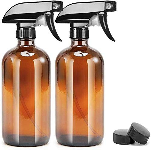 UMISKAM 2 Pcs Empty Glass Spray Bottles Refillable Container for Essential Oils,Cleaning- Durable Trigger Sprayer with Mist Stream Settings (2 * 500ML, Amber)