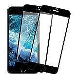 【2枚セット】iPhone8 ガラスフイルム 日本旭硝子製 iPhone7 強化ガラス 液晶保護フィルム 9Dラウンドエッジ加工/硬度9H/高透過率/3D Touch/自動吸着/気泡ゼロ 全面保護 4.7インチ ブラック-黑