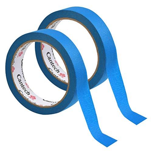 POKIENE 2 Rollen Kreppband/Abklebeband - Malerkrepp Malerband Malerabdeckband Für Abdeck & Malerarbeiten (25 mm x 50m, Blaues)