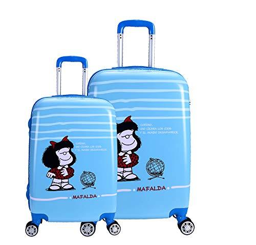 Set Dos Maletas Mafalda Color Azul Colección Sky
