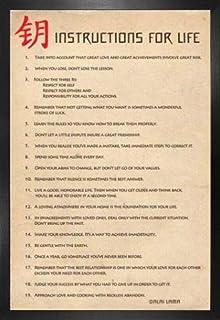 1art1 Dalai Lama Póster con Marco (Madera DM) - Instrucciones para La Vida (91 x 61cm)